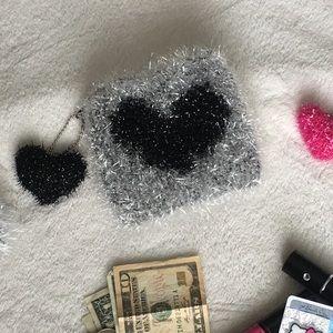 Handbags - 💘Heart Pom Mini Pouch |BLACK| 130